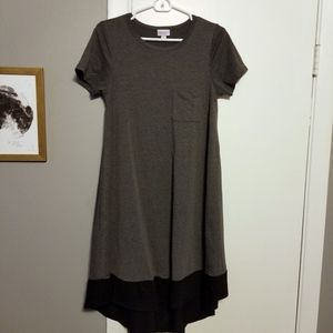 Lularoe Carly T-shirt Dress, Gray and Black